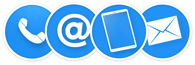 Blue and White Icons showing methods to contact Alura Window Decor, including phone, email, website, and mail.